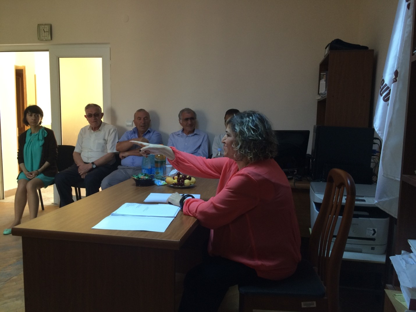 Board member Melania Arustamyan talks to advocates of Lori region about their disciplinary norms. Vanadzor, June 2015.